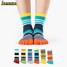 Load image into Gallery viewer, Colorful Cotton Stripe Socks Five Fingers Toe
