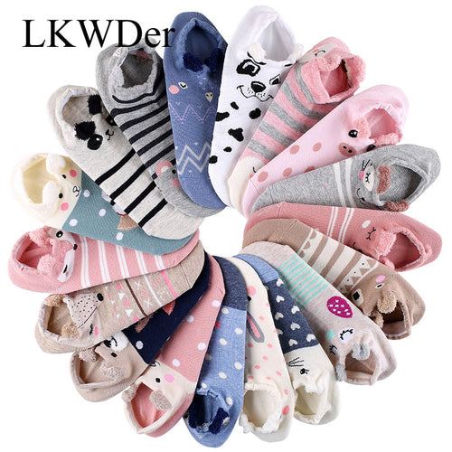 5 Pair Women 3D Animal Socks Shallow Cotton