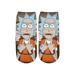 Newest Rick and Morty 3D Printed Short Ankle Socks