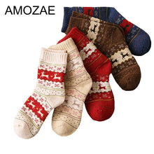 Load image into Gallery viewer, Warm Striped Socks Christmas Style