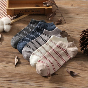 5 Pairs Ankle Socks Cotton Stripe Shallow