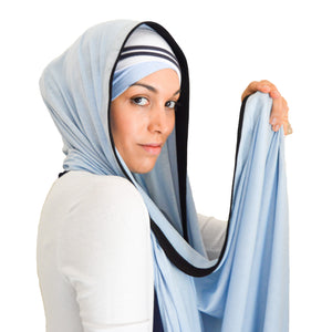hijab, headscarf, blue, white, black