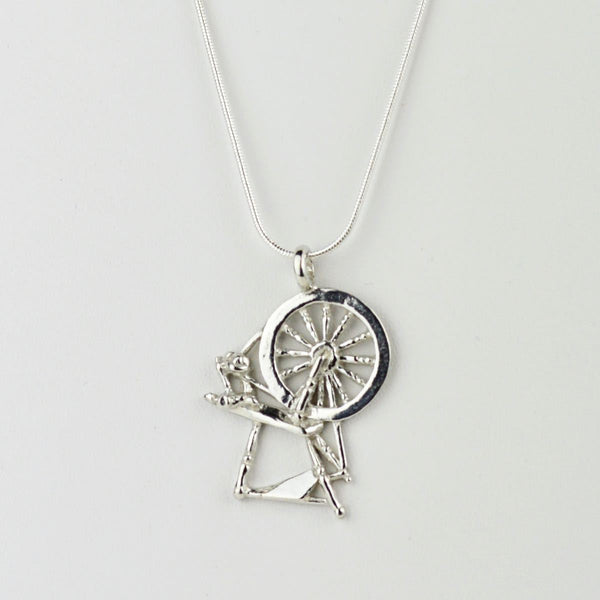 Silver Alloy Spinning Wheel Pendant