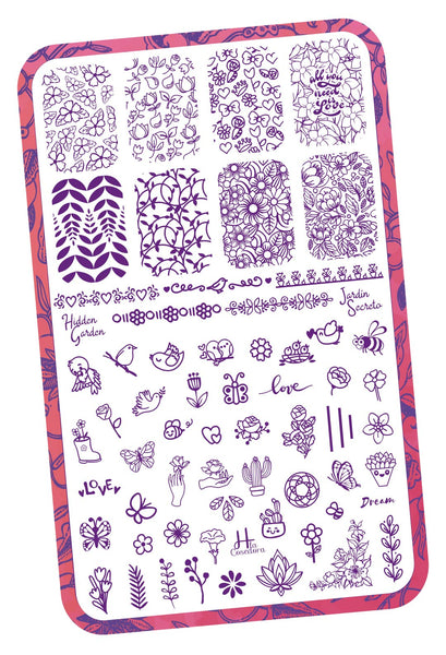 Hidden Garden - H la Cosedora - Nail Art Stamping Plates Polishes Kit