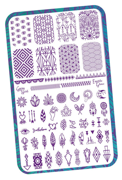 Gypsy Spirit - H la Cosedora - Nail Art Stamping Plates Polishes Kit