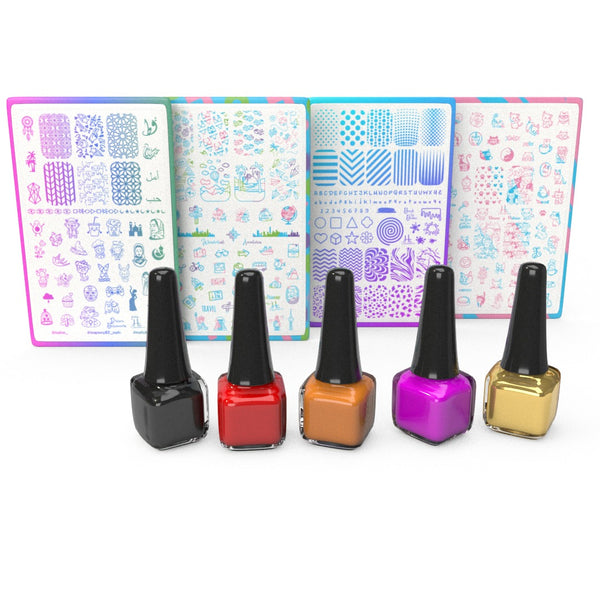 Pick 4 Plates + 5 Stamping Polishes - H la Cosedora - Nail Art Stamping Plates Polishes Kit