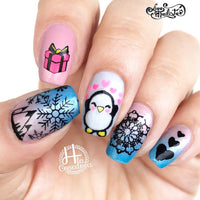 Eskimo Kisses - H la Cosedora - Nail Art Stamping Plates Polishes Kit