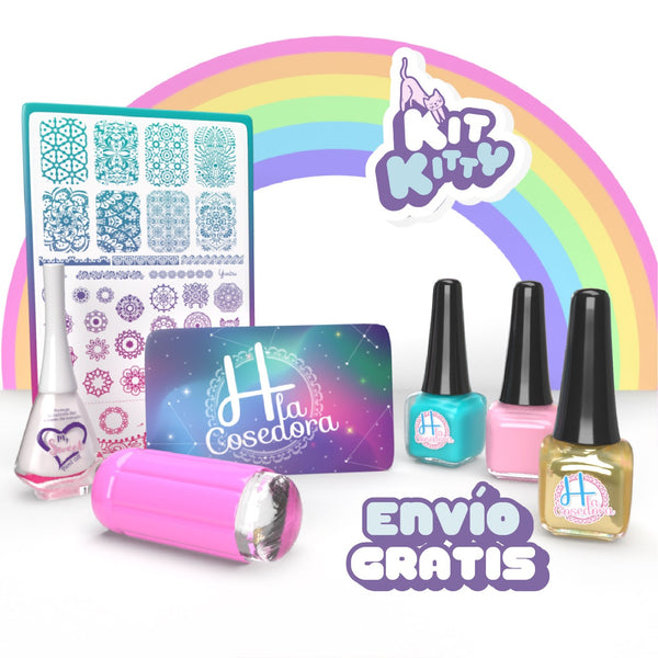 Stamping Kit Kitty - Customize It - H la Cosedora - Nail Art Stamping Plates Polishes Kit