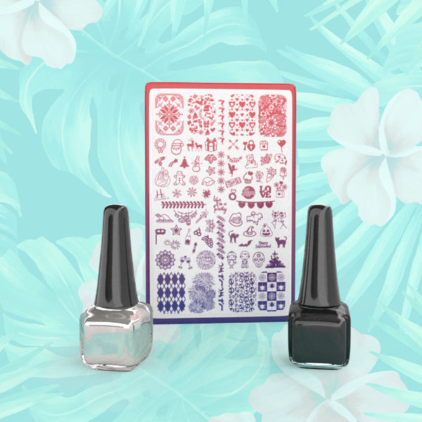 Pick 1 Plate + 2 Polishes - H la Cosedora - Nail Art Stamping Plates Polishes Kit