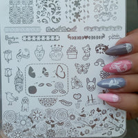 Beauty in Bloom - H la Cosedora - Nail Art Stamping Plates Polishes Kit