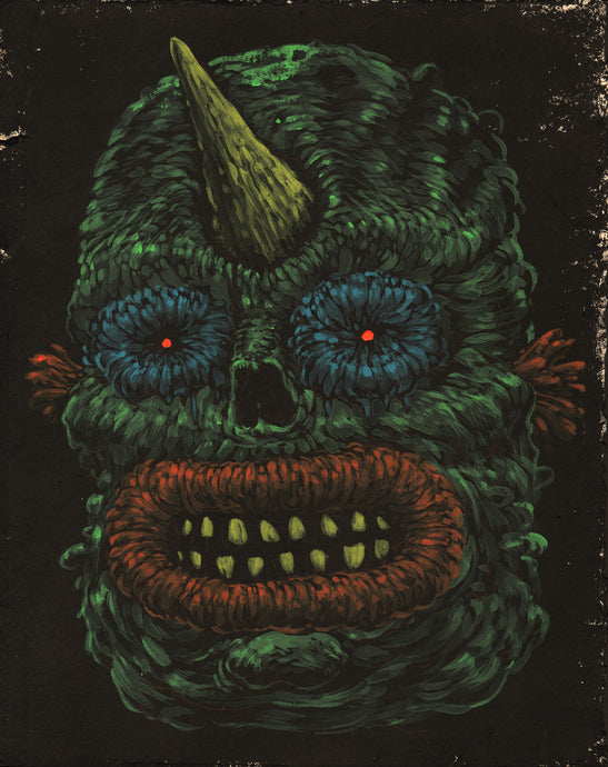 Dark Monster Face Print