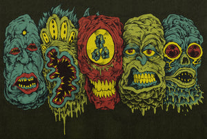 5 Monster Heads In a Row Print