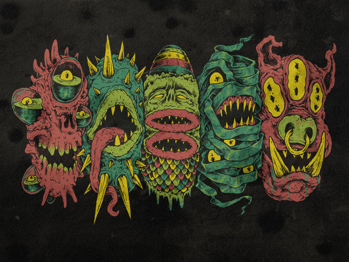 5 More Monster Heads in a Row Print