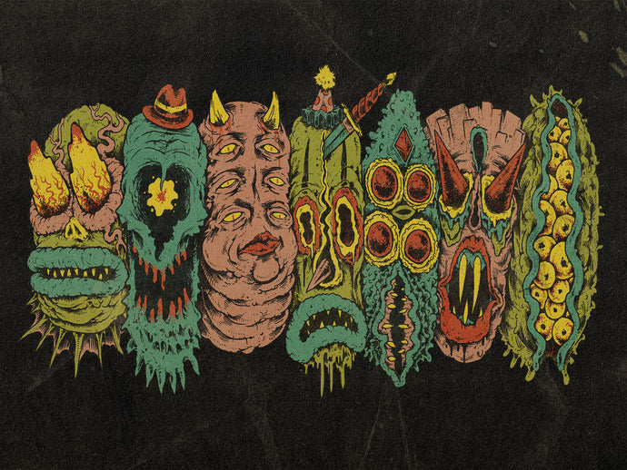 7 Monster Heads in a Row Print