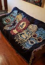 Load image into Gallery viewer, 5 Monster Heads in a Row Woven Blanket