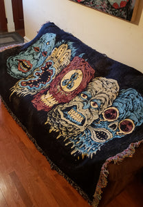 5 Monster Heads in a Row Woven Blanket