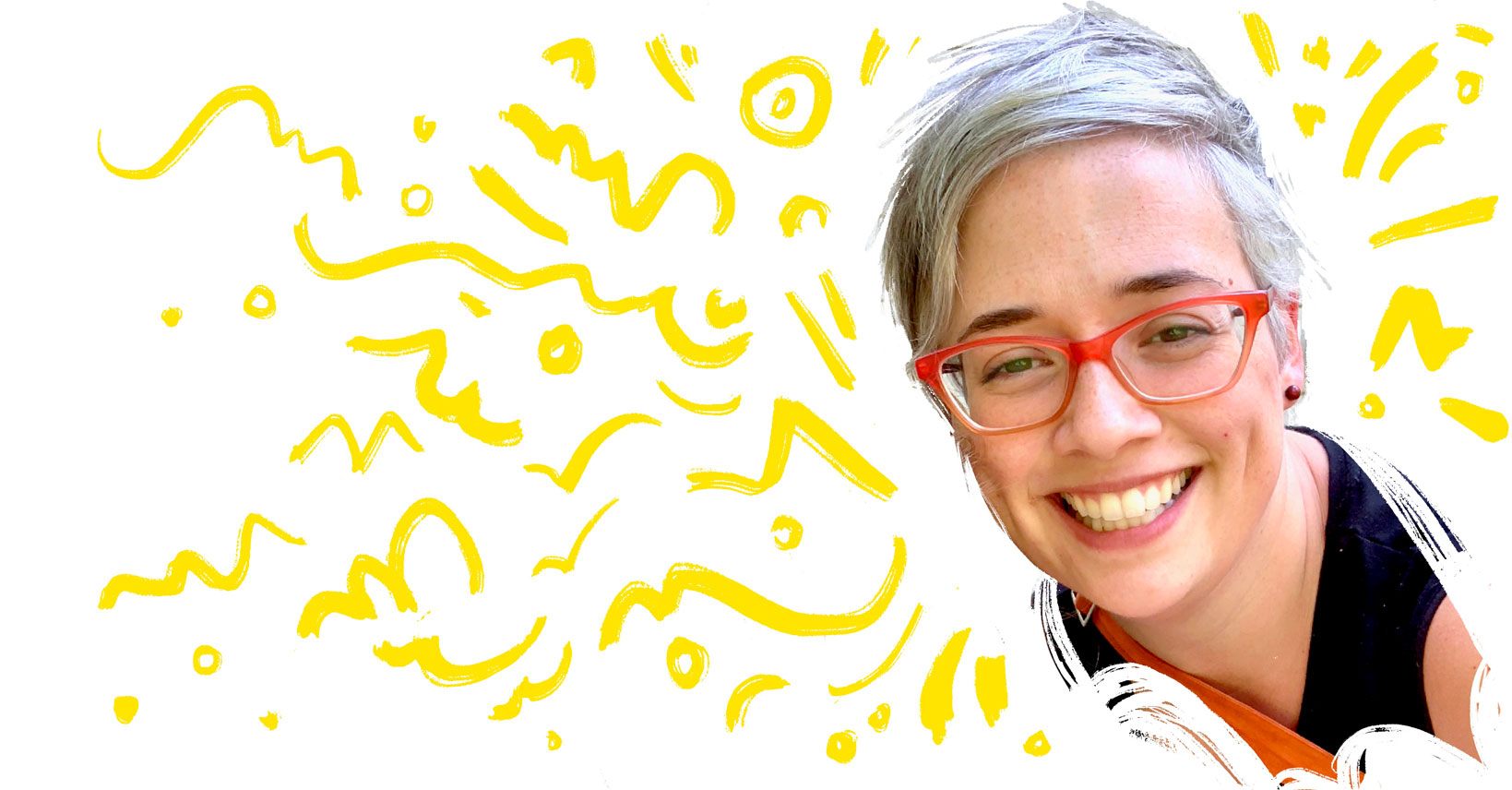 woman smiling wearing red glasses surrounded with yellow lines