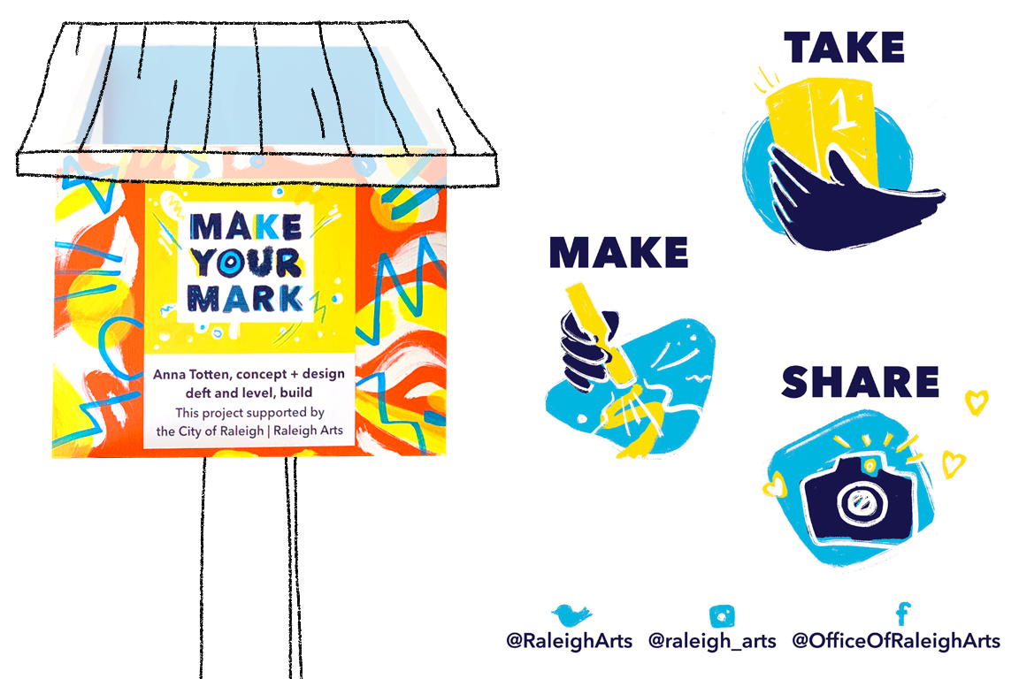 Graphics in yellow and blue that say Make Your Mark and illustrated icons that go with Take, Make, and Share