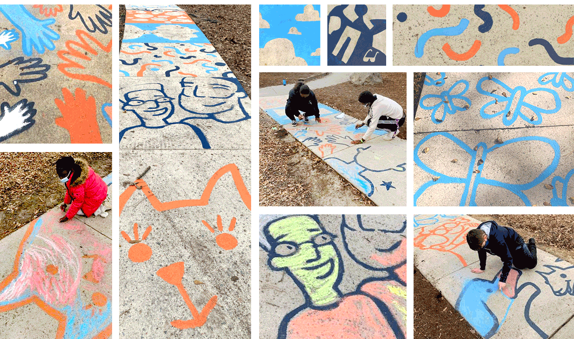 collage of images of sidewalk mural and people coloring it in