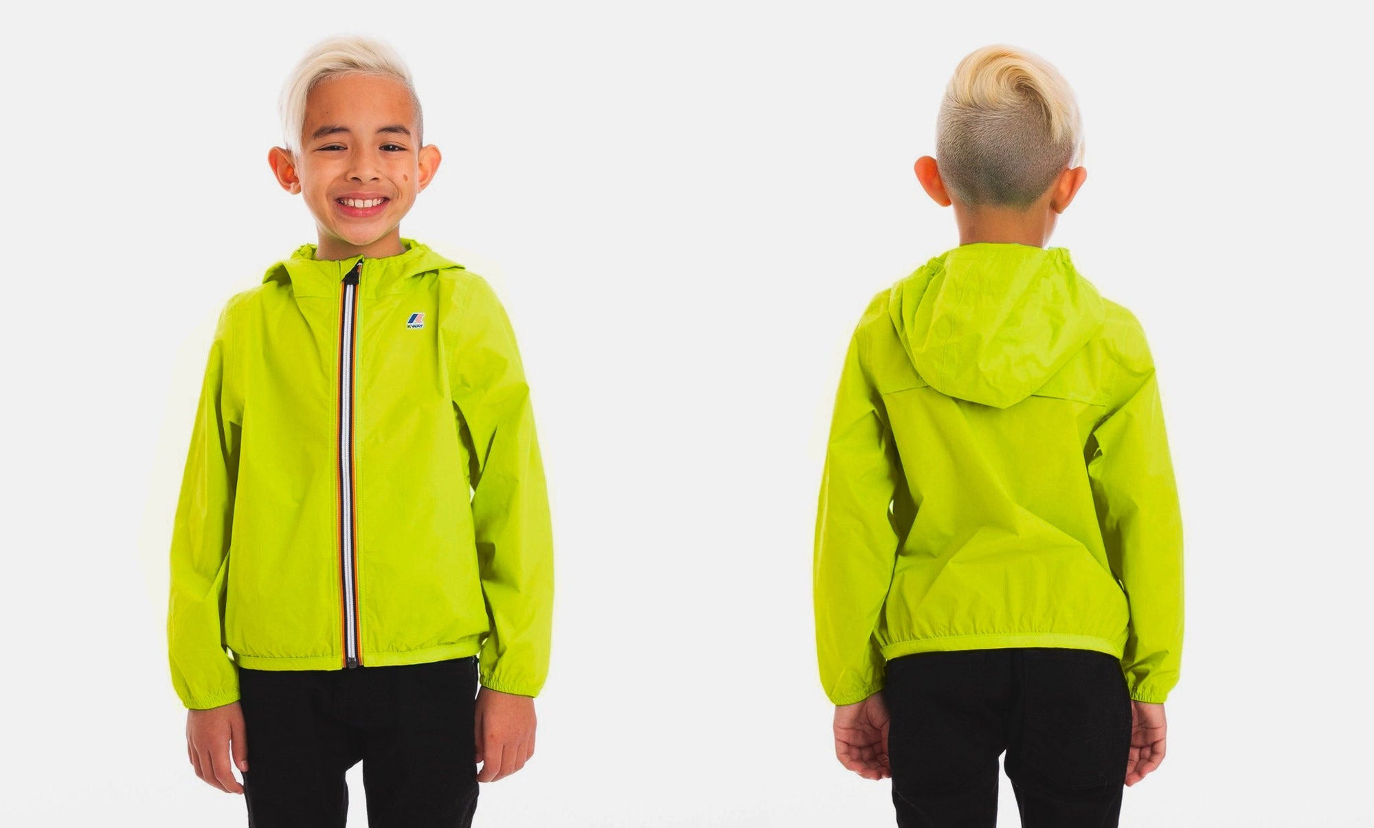 Claude - Kids Packable Full Zip Rain Jacket in Green Lime Lifestyle Photo