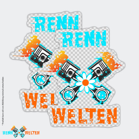 RennWelten Sticker 2er-Set bunt/transparent - RW Edition V0Y20