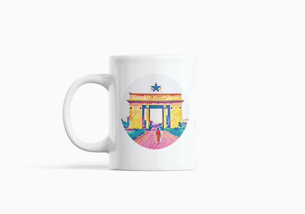 A white mug with Ghana's Black star square in the background