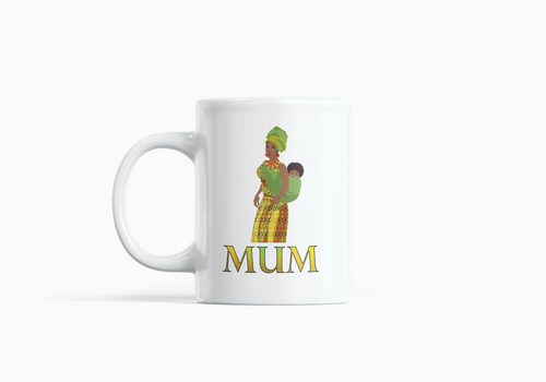 A white mug with black mother and baby