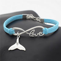 SAVE THE OCEAN BRACELET LEATHER WHALE TAIL