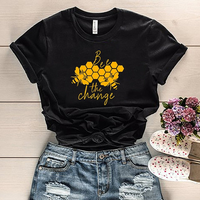 Save the Bees T-shirt Bee The Change Cotton Short Sleeve 3 COLORS-seaxox.com
