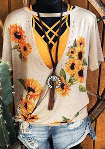 Boho Women Sunflower Cut Out Aesthetic Apricot Vintage Hollow Out Tee Top 6 STYLES