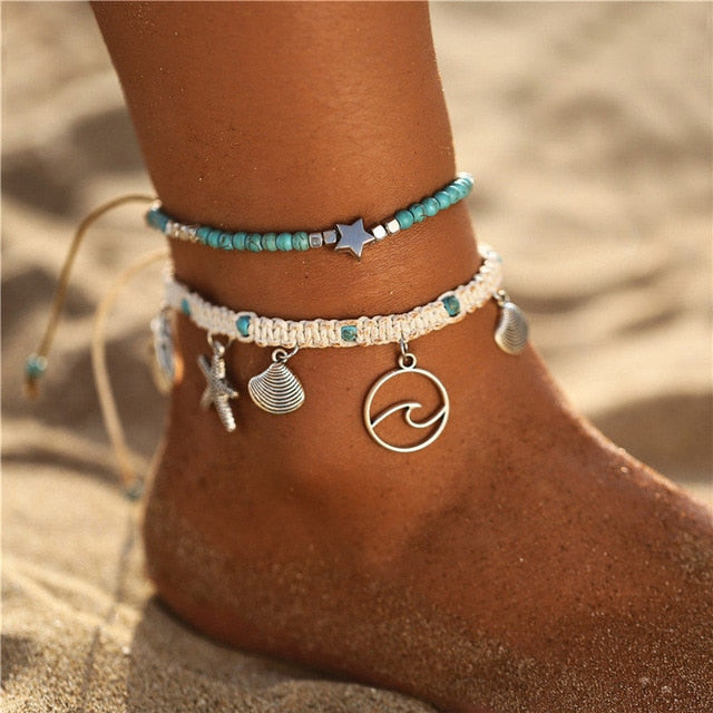 Save Sea Life Jewelry | Wave Starfish Shell Anklet-seaxox.com