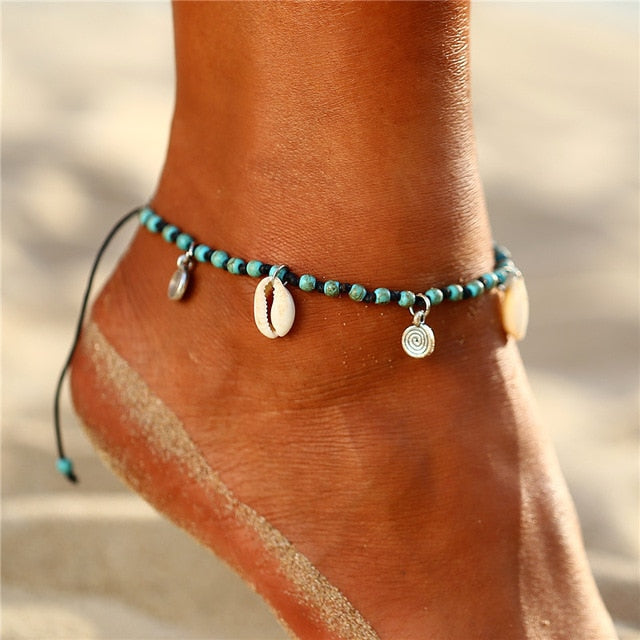 Save Sea Life Jewelry Sea Shell Seed Bead Cute Beach Anklet-seaxox.com