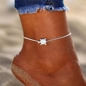 Save Sea Life Jewelry Silver Cute Baby Sea Turtle Anklet-seaxox.com