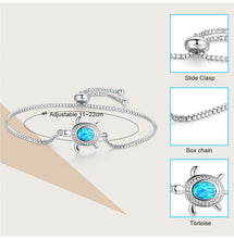 Load image into Gallery viewer, Save Ocean Animals Jewelry | Opal Silver Sea Turtle Bracelet 12 Styles-seaxox.com