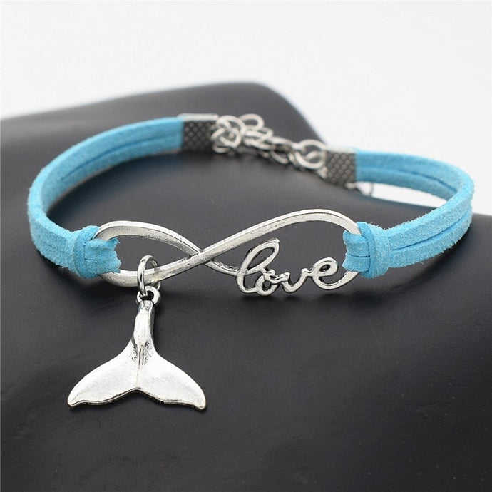 Save the Ocean Jewelry Bracelet Antique Silver Leather Whale Tail 10 COLORS