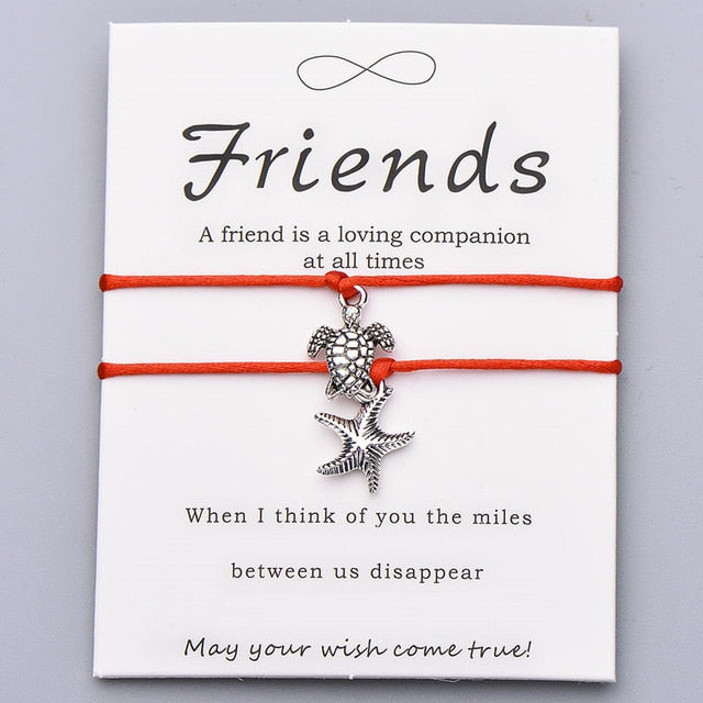 Save Sea Life Jewelry Save the Sea Turtle Bracelet Starfish Friendship Card 20 Colors