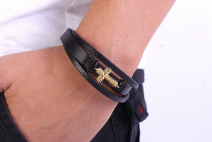 Ocean Conservation Jewelry | Vintage Cross Leather Bracelet-seaxox.com