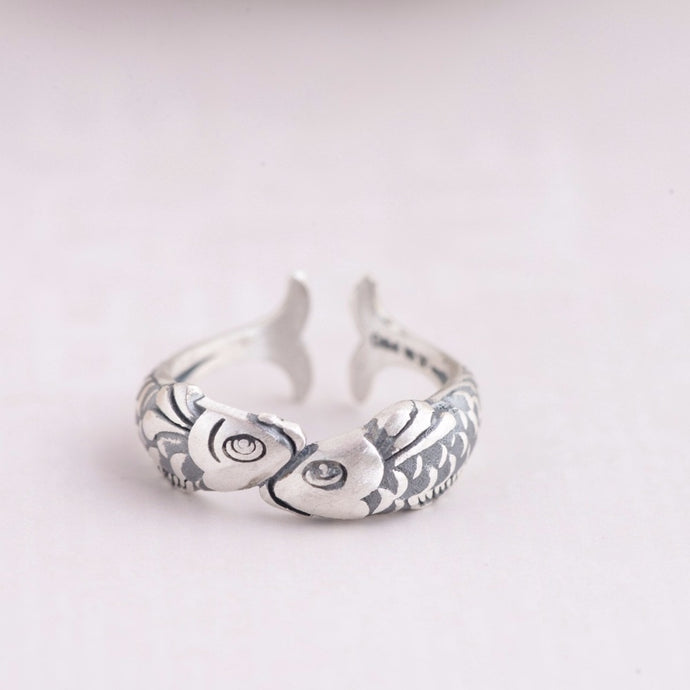Save the Sea Life Jewelry Ethnic Style 925 Sterling Silver Kissing Fish Ring