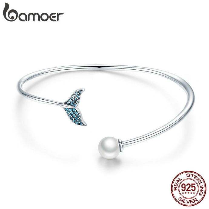 Save the Whales Jewelry | Sterling Whale Tail Open Cuff Bracelet-seaxox.com