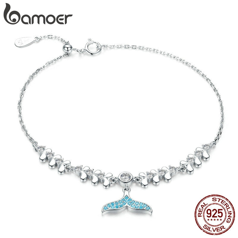Save the Whales Jewelry | Sterling Blue Tear Whale Tail Bracelet-seaxox.com