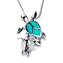 Load image into Gallery viewer, Save Sea Turtle Jewelry | Mother Baby Sea Turtle Necklace-seaxox.com
