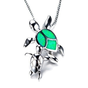 Save Sea Turtle Jewelry | Mother Baby Sea Turtle Necklace-seaxox.com