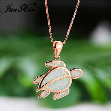 Save Sea Turtle Jewelry | Sterling Sea Turtle Necklace Opal