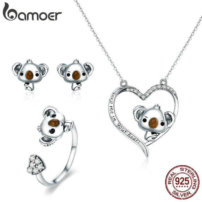 Designer 925 Sterling Silver, Save the Koalas Necklace Ring Earrings Set