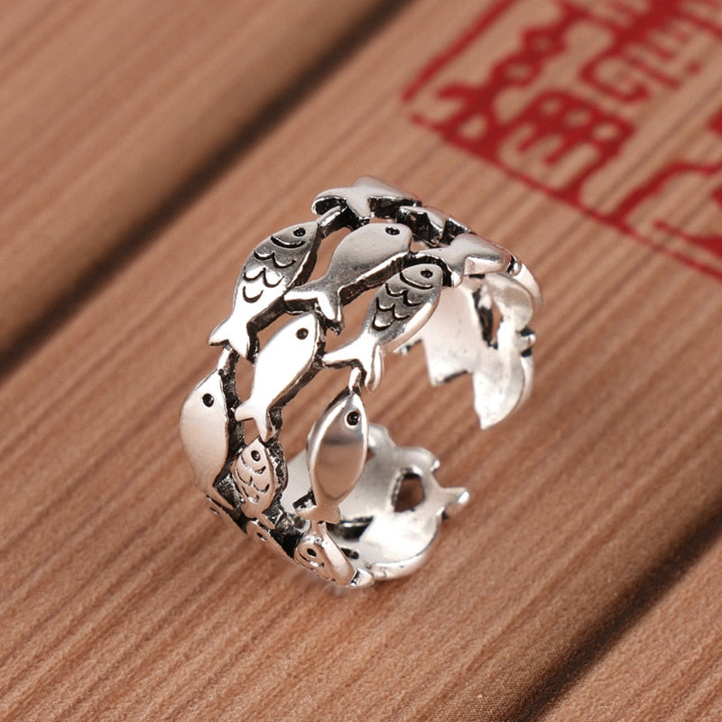 Sterling Silver Fish School Ring-seaxox.com