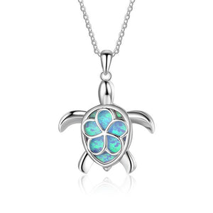 Save Sea Turtle Jewelry | Blue Silver Sea Turtle Necklace-seaxox.com