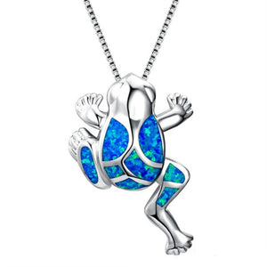 Save Ocean Animals Jewelry Necklace | Blue Opal Frog Necklace-seaxox.com