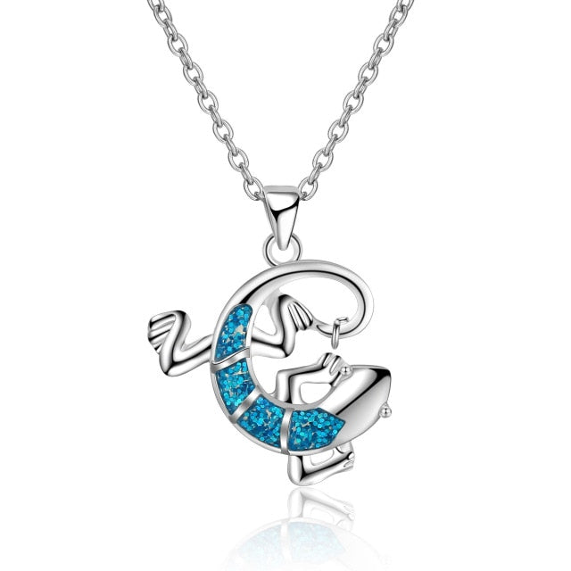 Ocean Charity Jewelry | Lizard Blue Opal Love the Oceans Necklace-seaxox.com