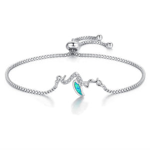 Save Ocean Animals Jewelry | Opal Silver Sea Turtle Bracelet 12 Styles-seaxox.com
