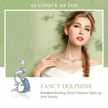 Load image into Gallery viewer, Save Ocean Animals Jewelry Necklace | Sterling Dolphin Necklace-seaxox.com